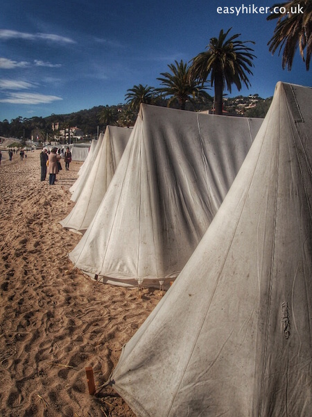 """reenaction of Napoleon's army camping on beach of Golfe Juan"""