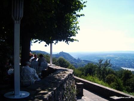 """""""Petersberg Hotel terrase restauranton top of the Siebengebirge easy hiking trail in Germany"""""""