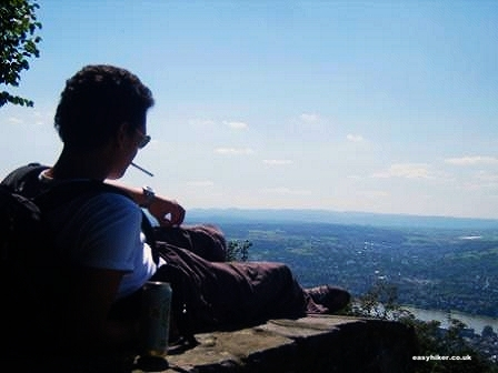 """Easy Hiker resting from hiking the Siebengebirge trail in Germany"""