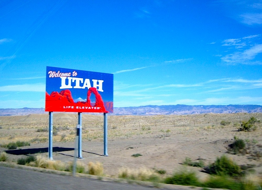 """Welcome sign into Utah on the way to hiking The Arches in the park"""