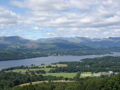 """Lake Windermere seen from the hill"""