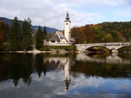 """""""Church Saint John Bohinj seen when Hiking In Slovenia trail"""""""