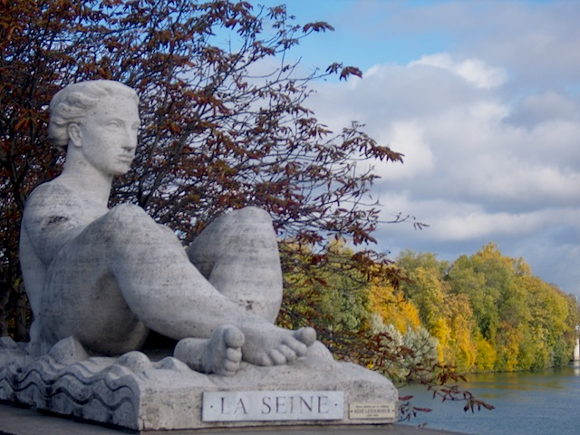 """Sculptures by Rene Letourneur at the bridge to Le Peq on a day hike near Paris"""