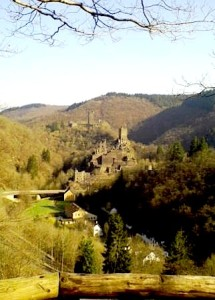 """A castle ruin by the Eifel trail in Germany"""
