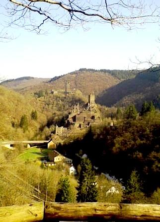 """""""A castle ruin seen when hiking Eifelsteig trail in Germany"""""""