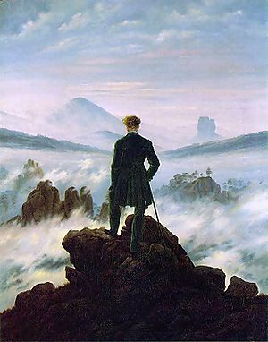 """""""Painting by Caspar David Friedrich depicting part of the hiking trail Malerweg in Germany"""""""