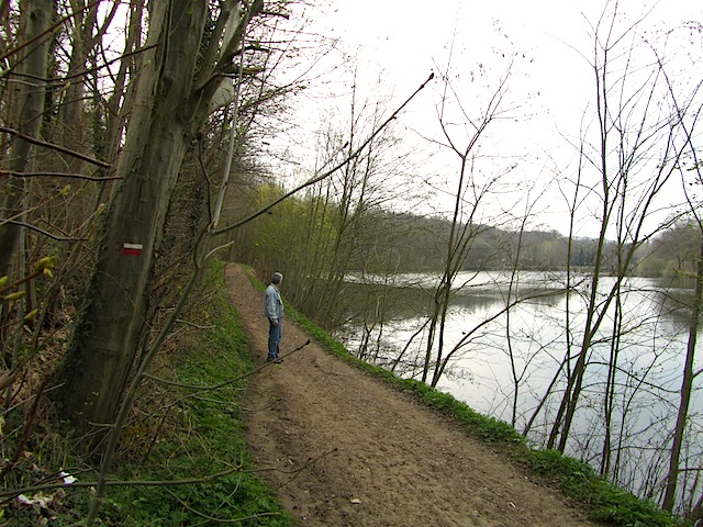 """Etang du Val in the hiking trail in the Forest of Versailles"""
