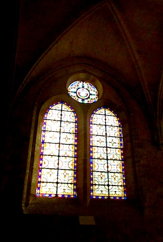 """Stained glass window in the Abbaye de Royaumont in Viarmes France"""