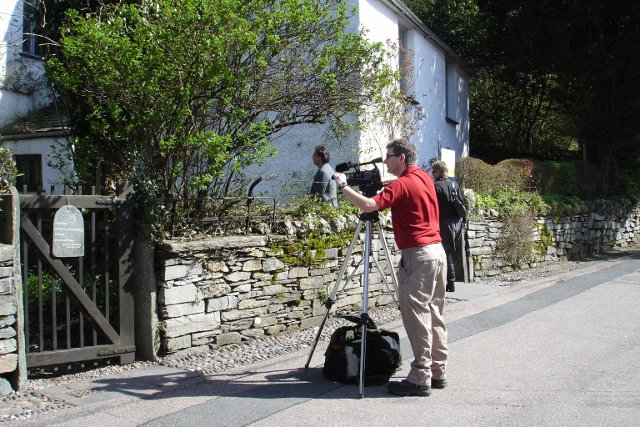 """Andrew filming in Dove Cottage Lake District, along the coffin route in Grasmere"""