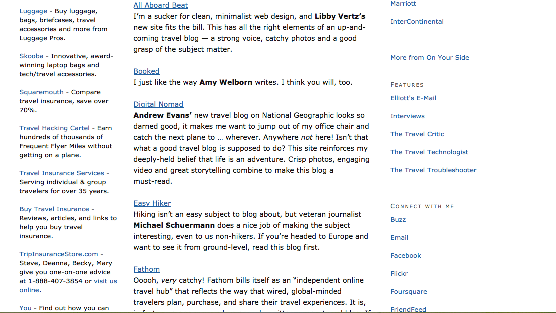"""Screen shot elliott.org 11 best new travel blogs of 2011"""