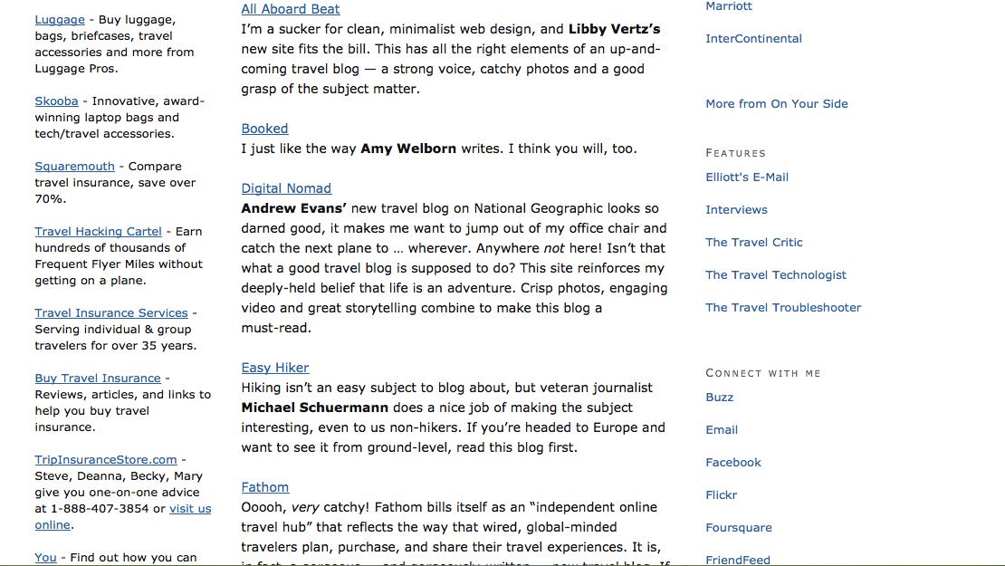 """""""Screen shot elliott.org 11 best new travel blogs of 2011"""""""