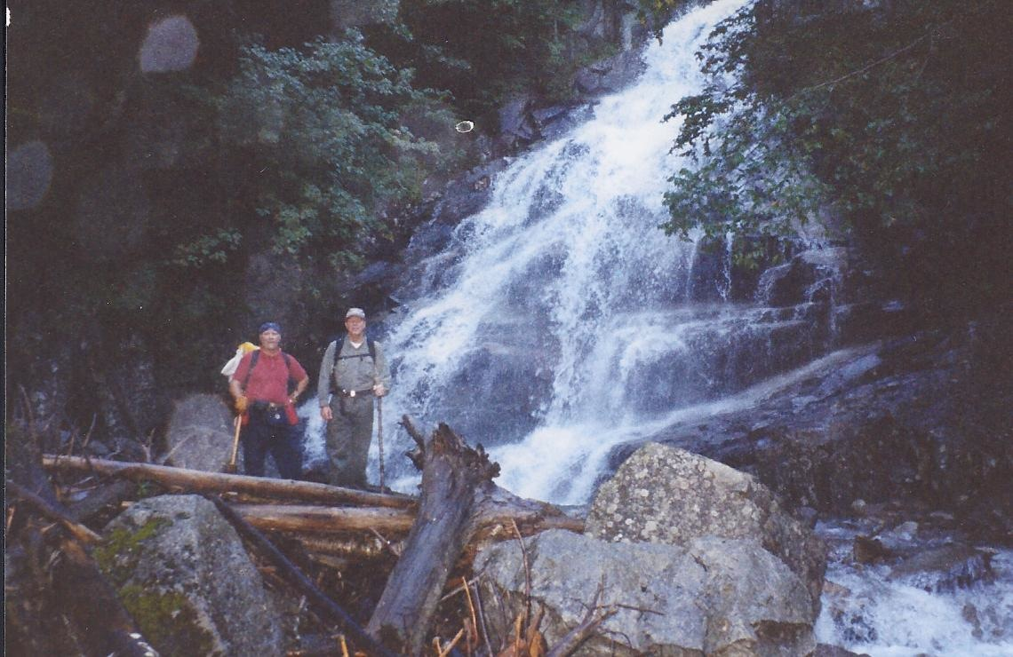 """Waterfall on Franconia Ridge hiking trail"""