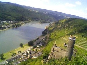 """A Castle overlooking the Rhine at an easy hiking trail in Germany"""