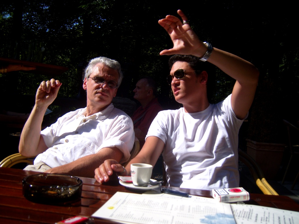 """A Father and son discussing their hiking in Germany-photo"""