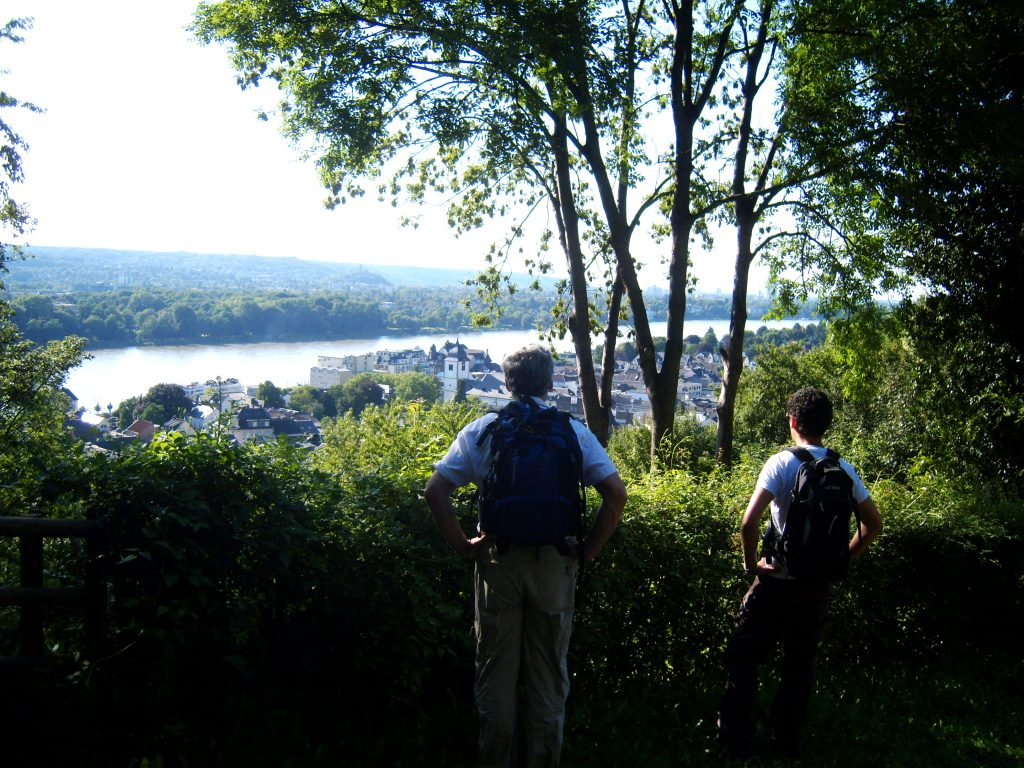 """Father and son enjoying a scenic hike in Germany"""