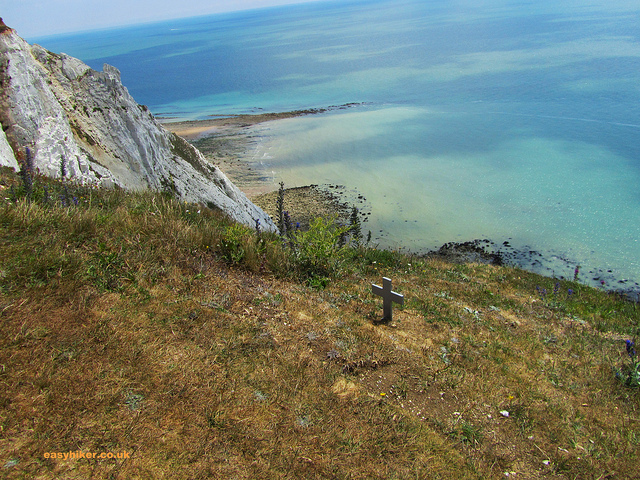 """A cross by the seaside hiking trail in South Downs Way Eastbourne"""