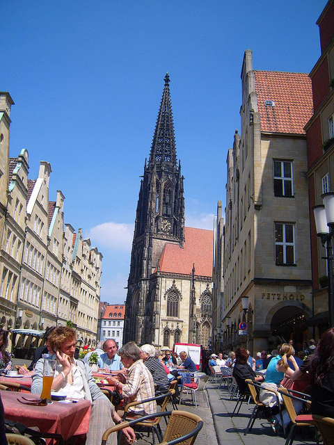"""Muenster's Lambertikirche in the town center"""
