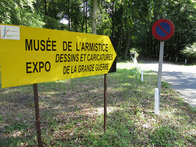 End of the Compiegne hiking trail and entrance to the Musee de l'Armistice with its relics of two world wars near Paris