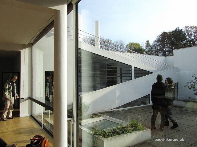 """Looking out from the solarium of the white house Le Corbusier built in Poissy near Paris"""