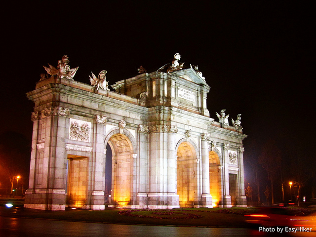 """Plaza de la Independencia seen on midnight in Madrid Spain"""