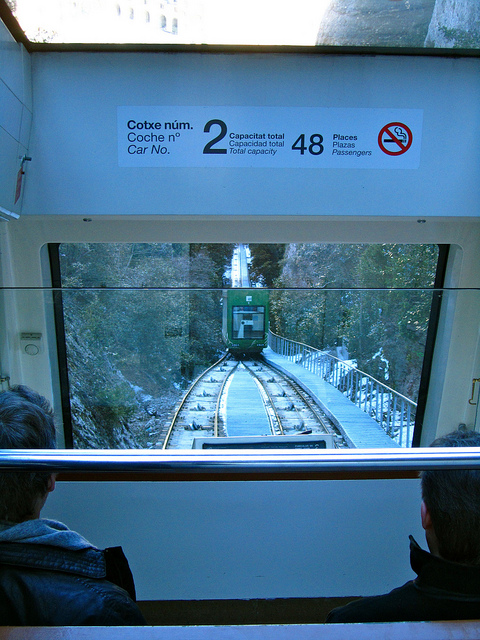 """The funiculaire that will take people to the next level of the mountains of Montserrat"""