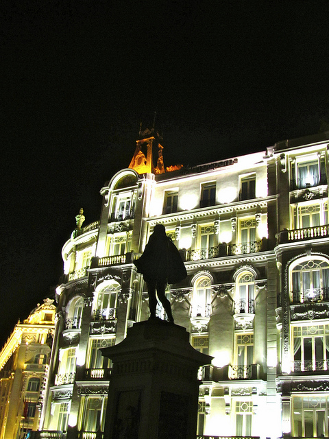 """An insurance building seen at Midnight in Madrid"""