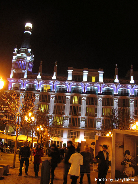 """Midnight at Plaza Sta Ana in Madrid Spain"""