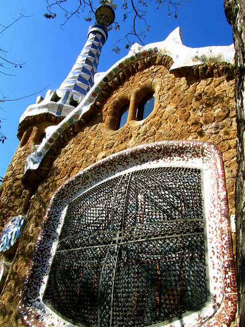 """By the entrance from metro Lesseps of The Sagrada Familia is not the weirdest thing about Parc Guell in Barcelona"""