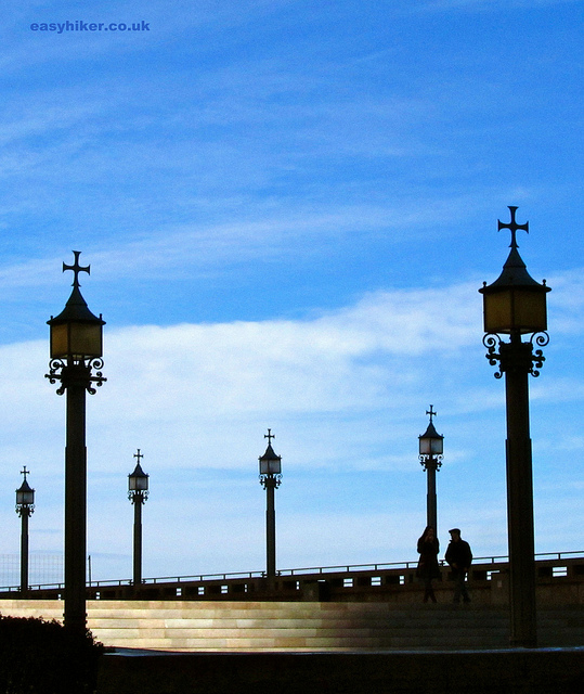 """Lamps on the esplanade of the monastery on the Montserrat rocks in Barcelona"""