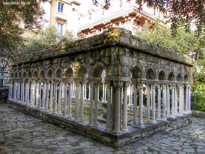 """Remains of a medieval cloister in Genoa beyond Porta Soprana"""