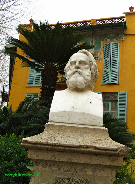 """Henry Wadsworth Longfellow bust in Menton"""