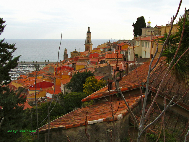 """In Menton Vielle Ville seen from atop the hill"""
