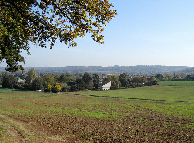 """""""Town of Etrechy near Paris seen from the hiking trail"""""""