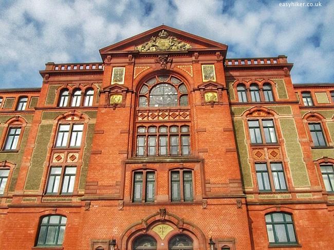 """The bricks in buildings as in an old office building in Schwerin Germany"""