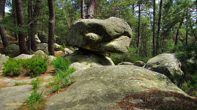 """Dramatic boulders along the Fontainebleau hiking trail near Paris"""