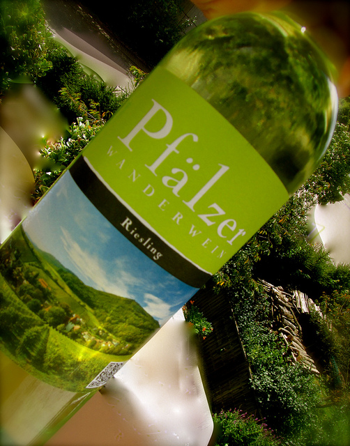 """""""A bottle of Riesling for hikers in the Palatinate"""""""