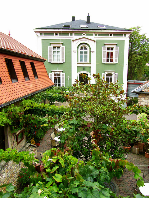 """Zum Stein main house seen from the guest house in Bad Dürkheim in the Palatinate Germany"""