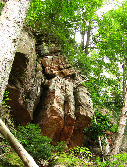 """Stone formations along the Seelenfelsenpfad or Soul Rocks in the Palatinate in Germany"""