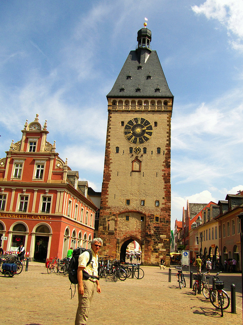 """The old clock tower of Speyer in Germany"""