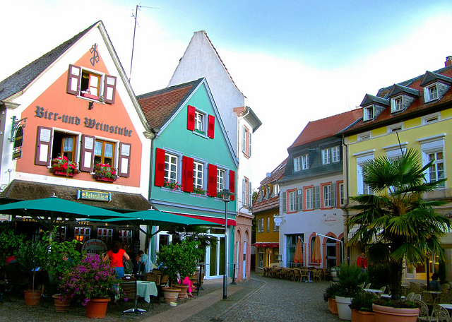 """Old houses in the town centre of Bad Dürkheim"""