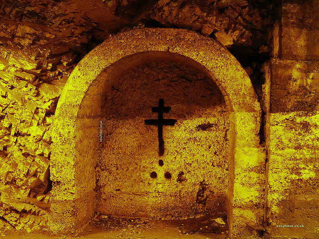 """A cross painted on the wall of the tunnel leading to Saorge"""