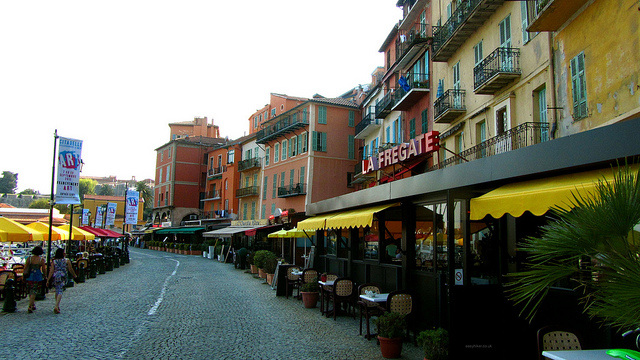 """Restaurants and coffee shops along the beachfront of Villefranche-sur-mer"""