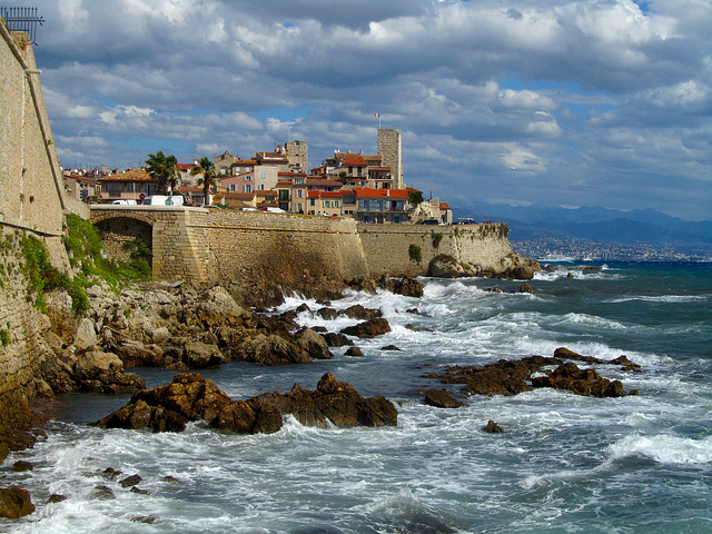 """Old Town of Antibes in the French Riviera and its beaches and billionaires"""