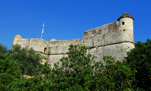 """Ruins of Fort Mont Alban on top of the hiking trail in Villefranche-sur-mer in the French Riviera"""