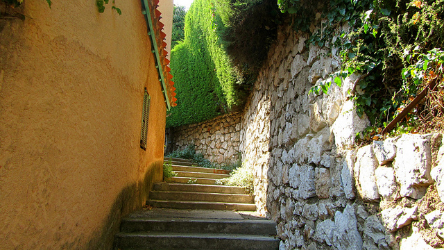 """Part of a long stairway up the hiking trail in Villefranche-sur-mer in the French Riviera"""