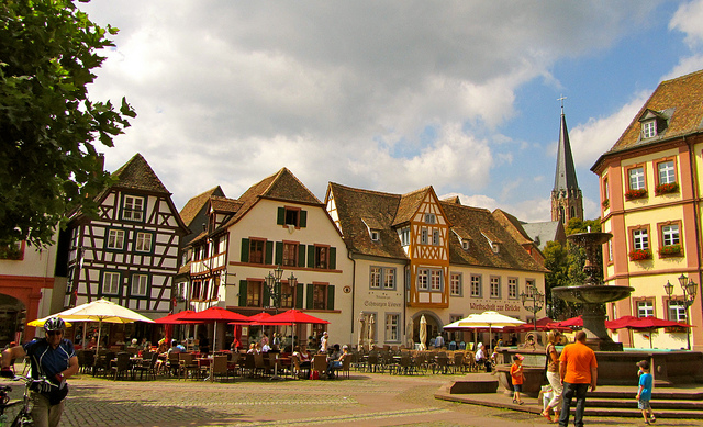 """The central market square in Neustadt Germany"""