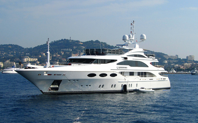 """The yacht named Diamonds are Forever moored in the waters of Cannes for princes and plebs alike"""
