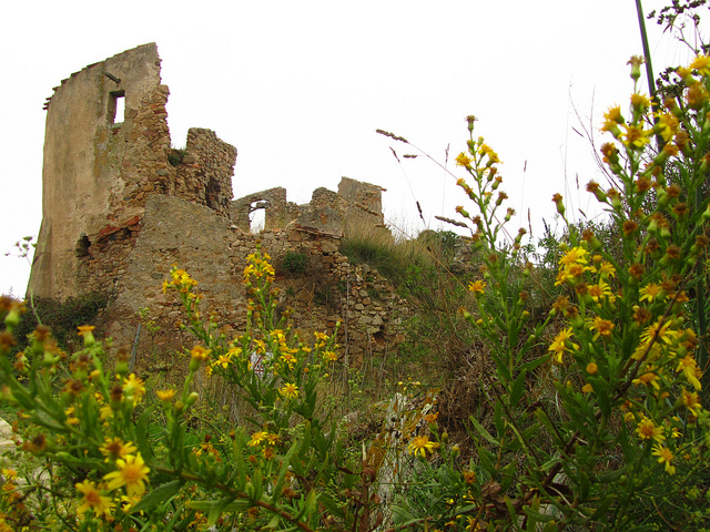 """A castle ruin along the Cami de Ronda trail from La Fosca"""