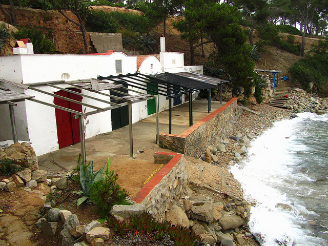 """Apartments shuttered close in the beach town of Palafrugell in the real Costa Brava"""