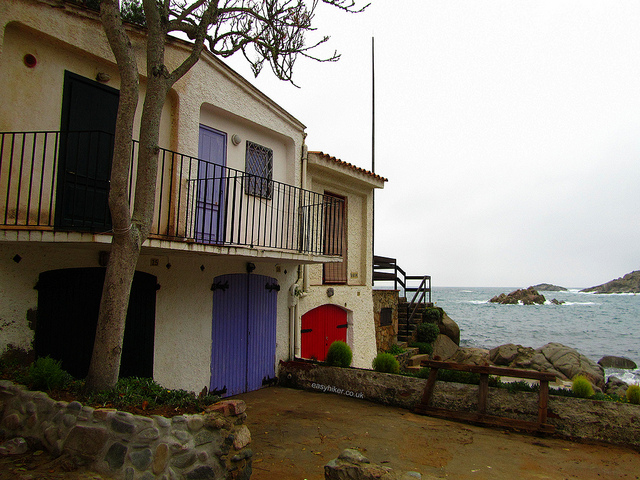 """A shuttered house in the fishing village along the Cami de Ronda in S'Alguer in Costa Brava"""